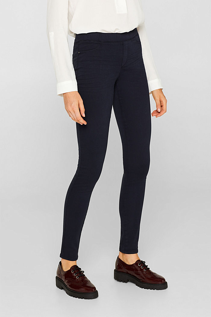 Stretch treggings with whiskered effects, NAVY, detail image number 6