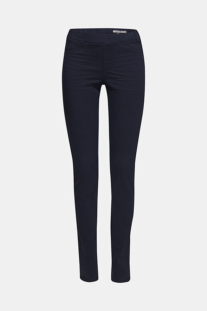 Stretch treggings with whiskered effects, NAVY, overview