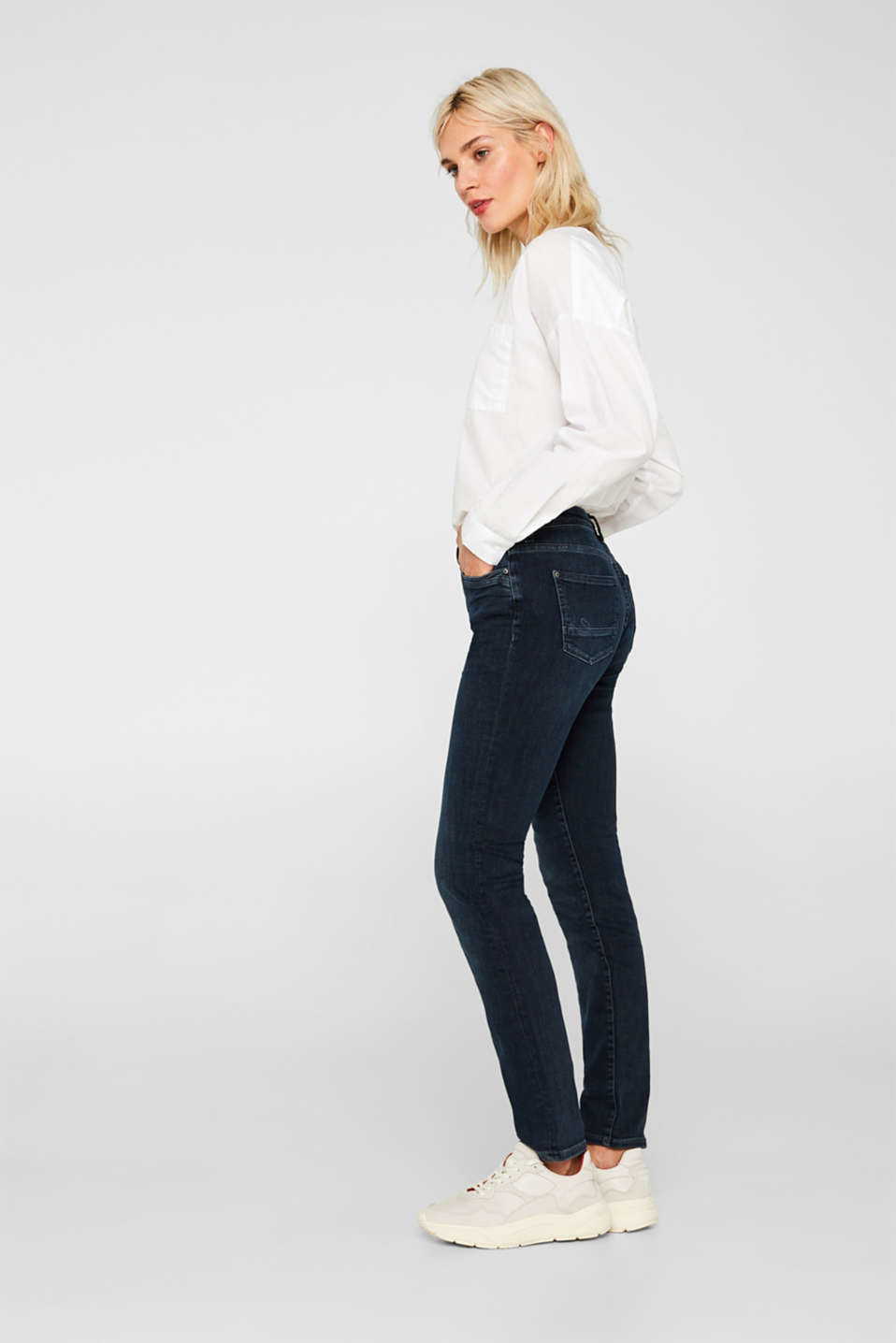 Stretch jeans with double button, GREY DARK WASH, detail
