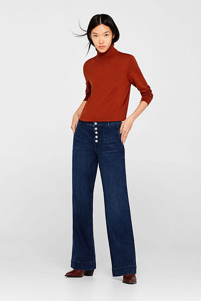 Stretch-Jeans mit Knopfleiste, BLUE DARK WASHED, detail image number 0