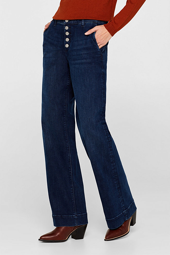 Stretch-Jeans mit Knopfleiste, BLUE DARK WASHED, detail image number 5
