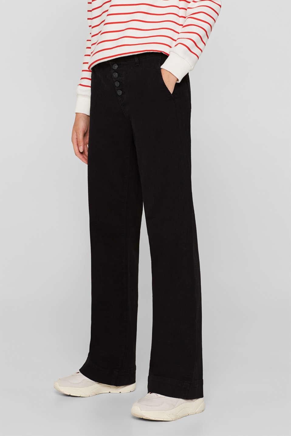 Wide-legged jeans made of black denim, BLACK DARK WASH, detail image number 7