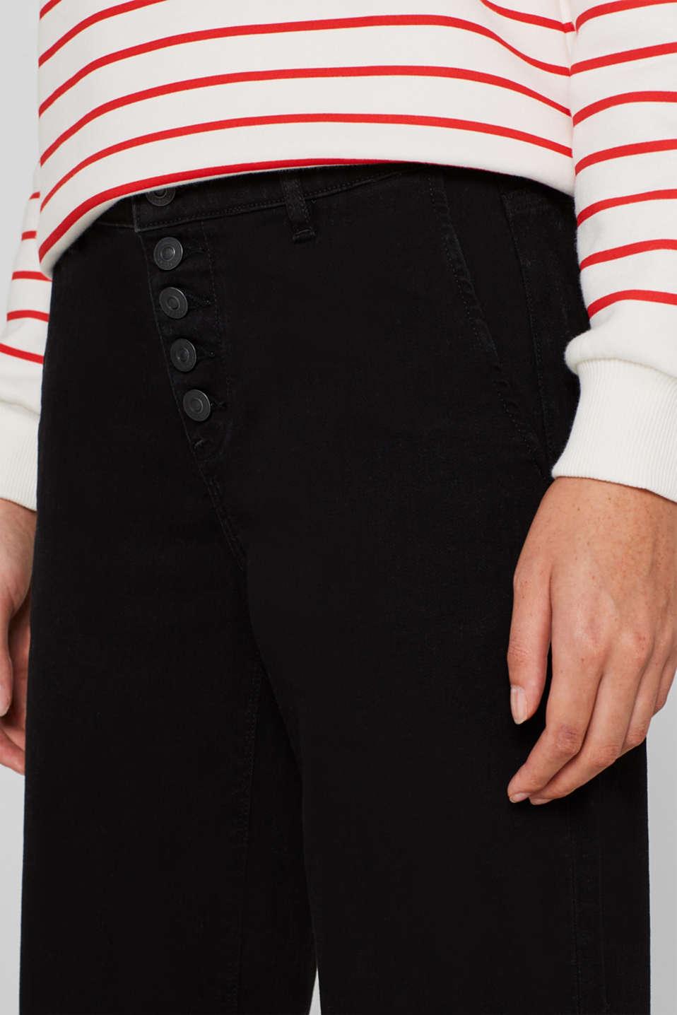 Wide-legged jeans made of black denim, BLACK DARK WASH, detail image number 6