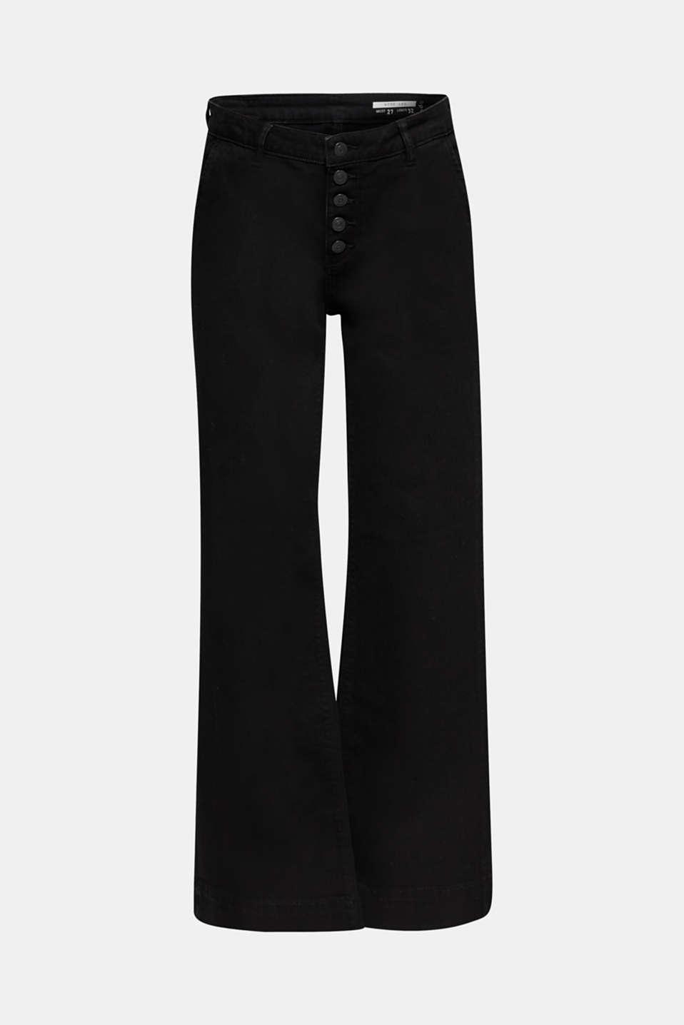 Wide-legged jeans made of black denim, BLACK DARK WASH, detail image number 8