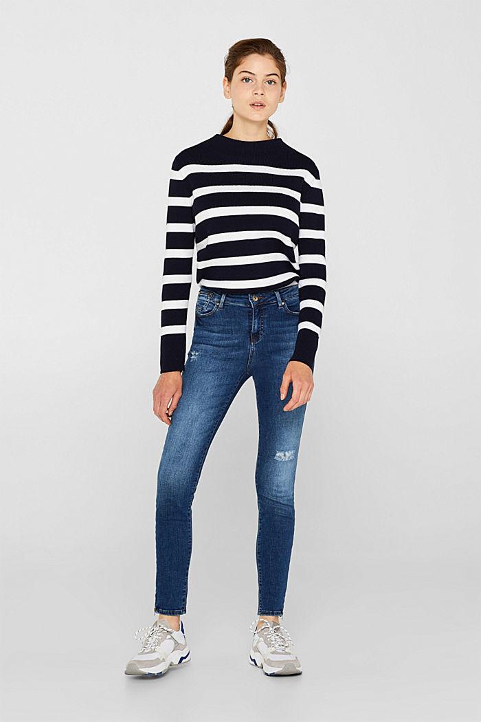 Ankle-length stretch jeans, BLUE MEDIUM WASHED, detail image number 0