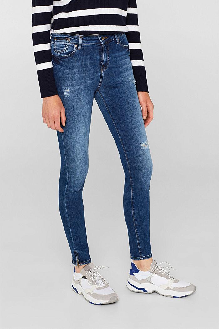 Ankle-length stretch jeans, BLUE MEDIUM WASHED, detail image number 6