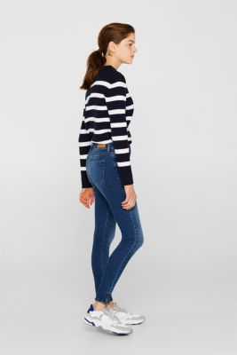 Ankle-length stretch jeans, BLUE MEDIUM WASHED, detail