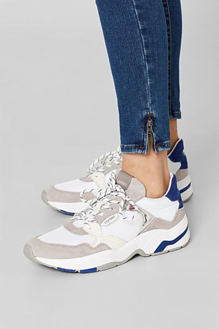 ESPRIT Basic Sneaker in Leder Optik, blau Easy Style Outlet