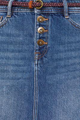 Stretch denim skirt with lyocell and belt, BLUE MEDIUM WASH, detail