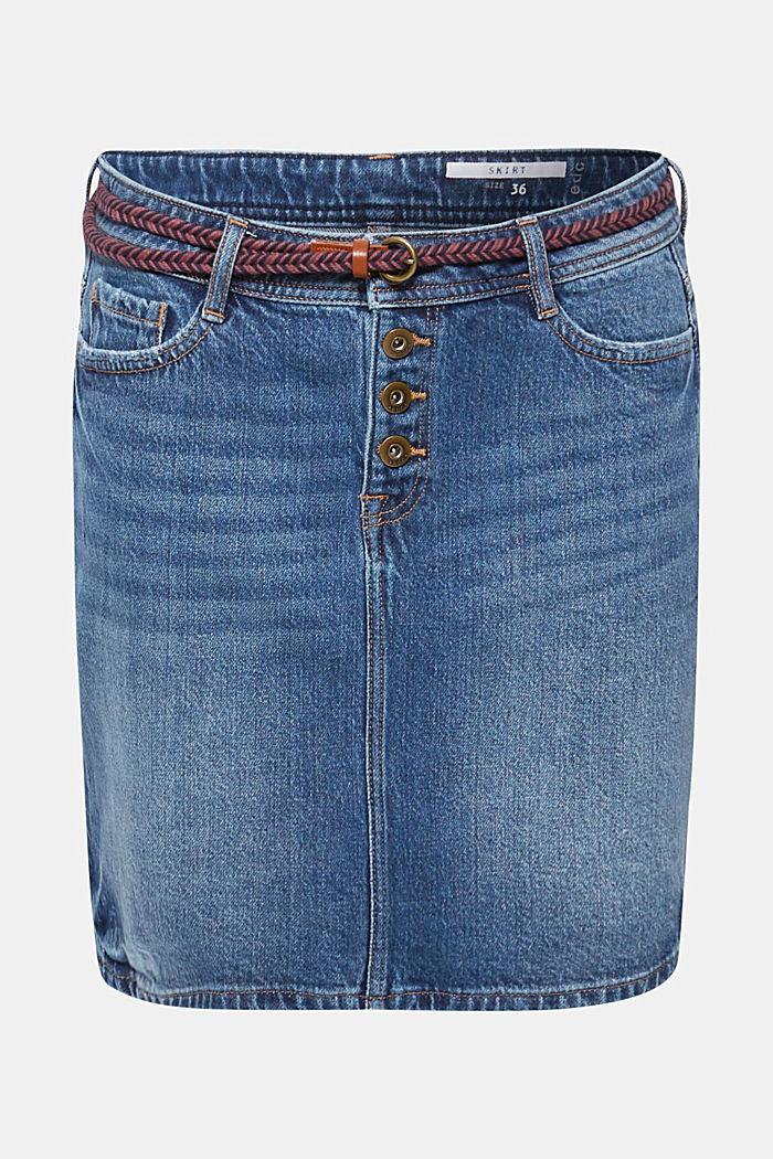 Stretch-Jeans-Rock mit Lyocell und Gürtel, BLUE MEDIUM WASHED, detail image number 0