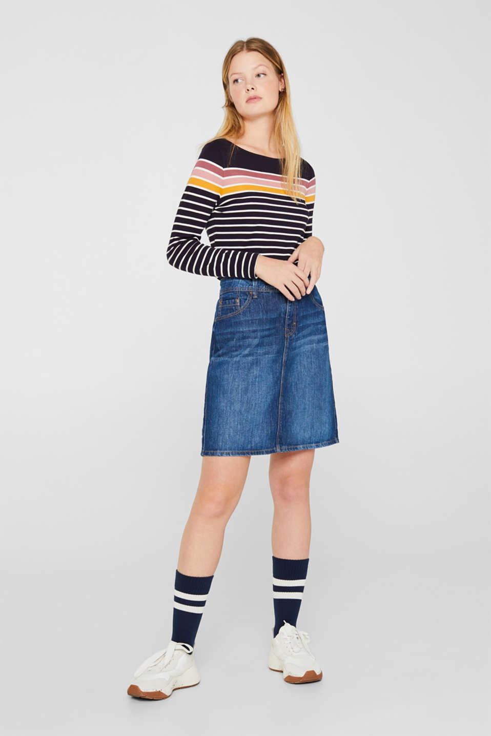Skirts denim, BLUE DARK WASH, detail image number 0