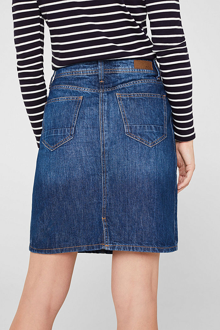 Denim skirt with a garment wash, BLUE DARK WASHED, detail image number 4