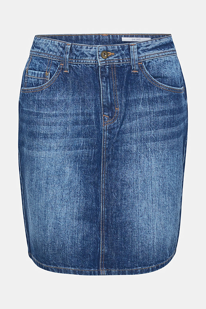 Denim skirt with a garment wash