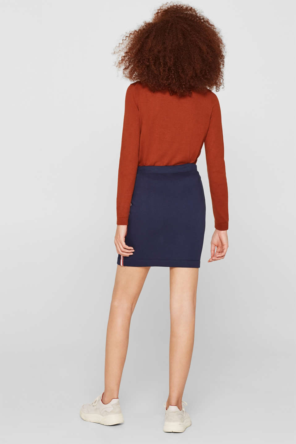 Sweatshirt skirt with racing stripes, NAVY, detail image number 3