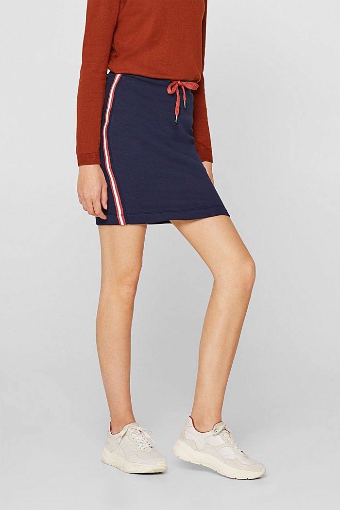 Sweatshirt skirt with racing stripes, NAVY, detail image number 5