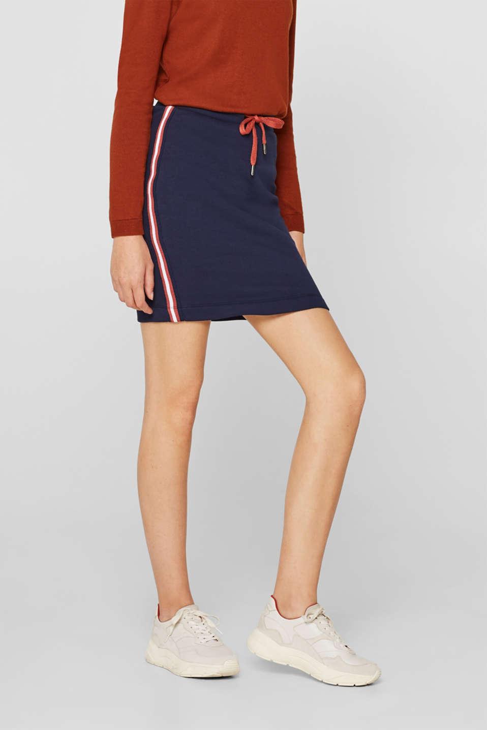 Sweatshirt skirt with racing stripes, NAVY, detail image number 5