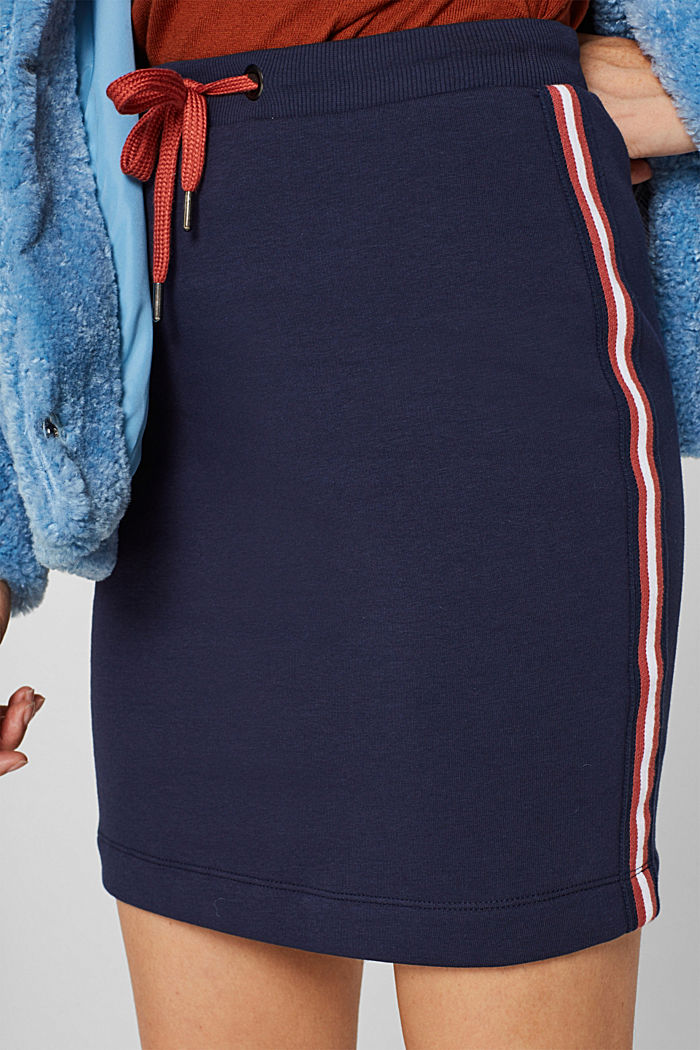 Sweatshirt skirt with racing stripes, NAVY, detail image number 2