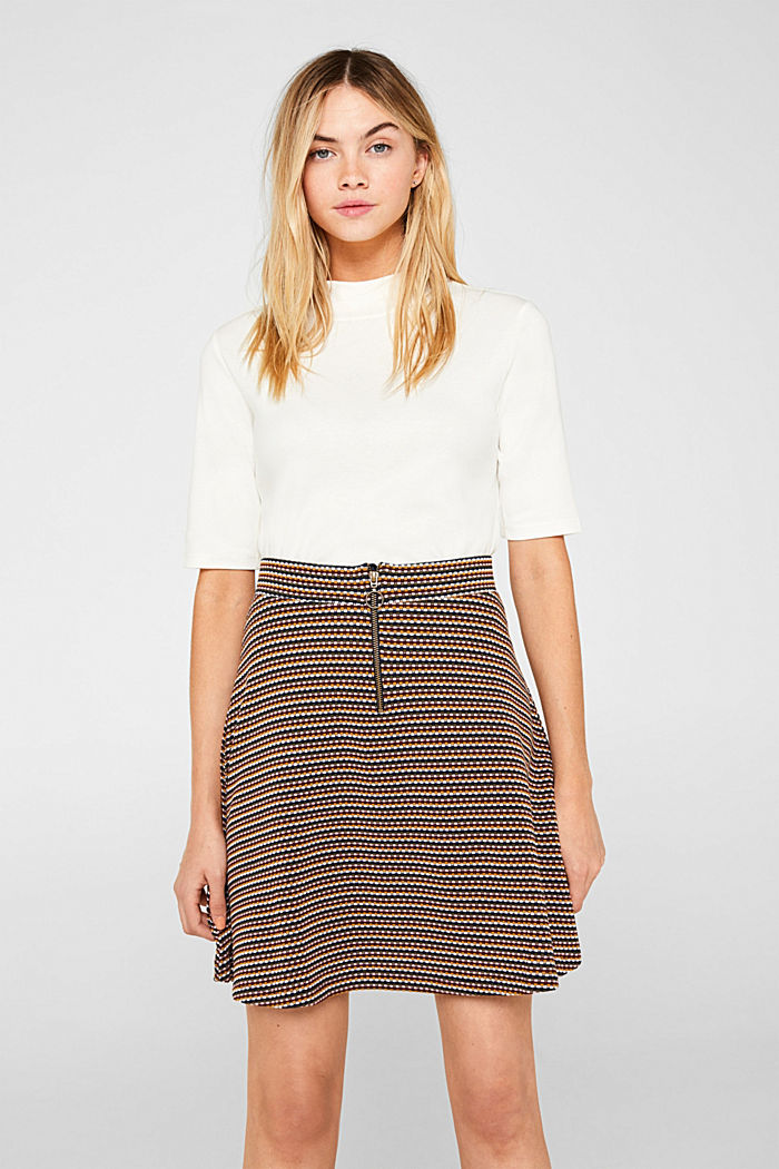 Jersey skirt with a multi-coloured jacquard texture, KHAKI GREEN, detail image number 0