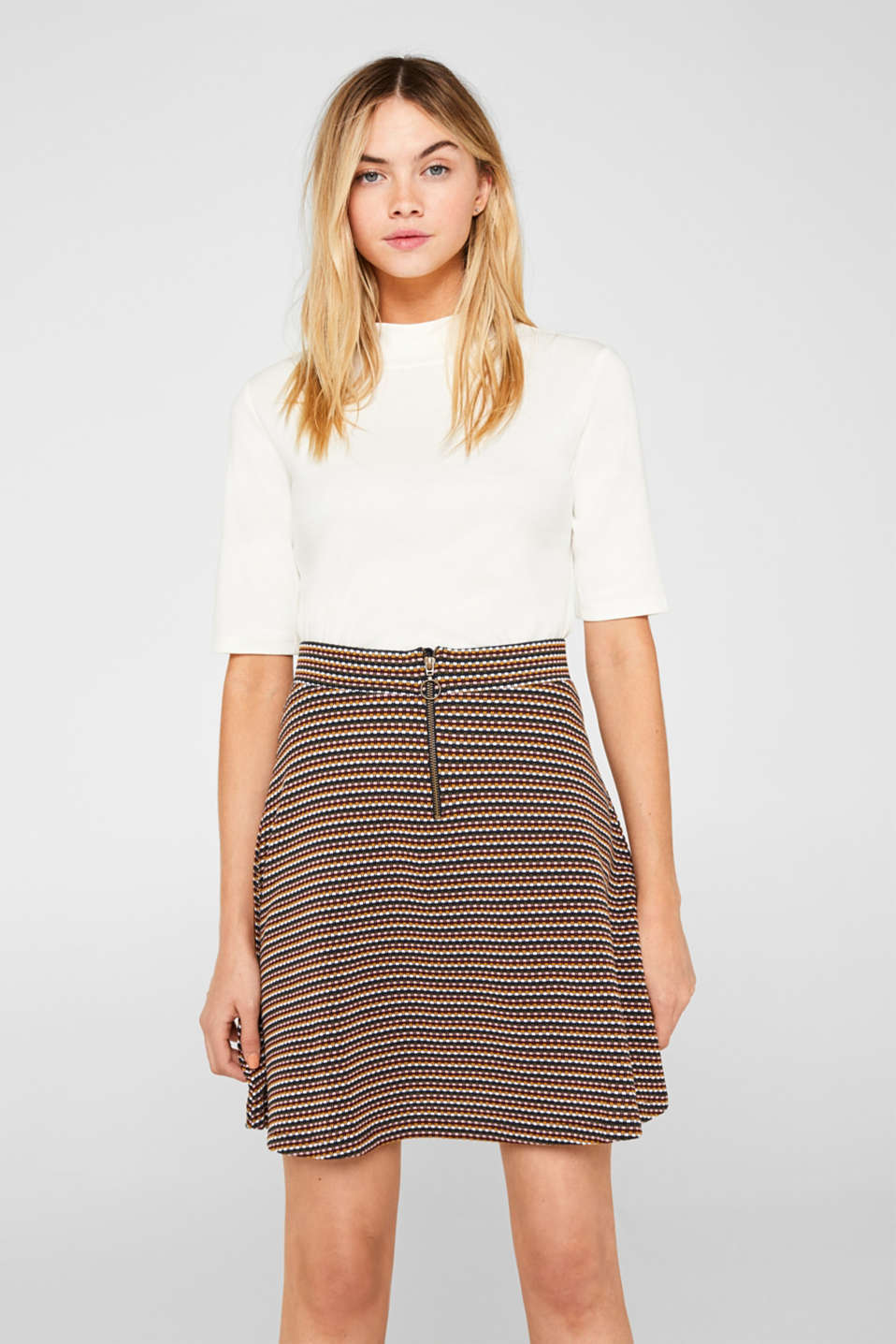 edc - Jersey skirt with a multi-coloured jacquard texture
