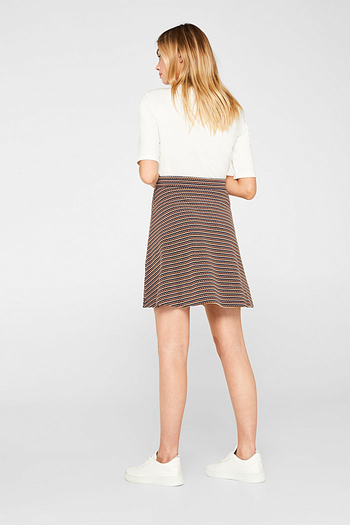 Jersey skirt with a multi-coloured jacquard texture, KHAKI GREEN, detail image number 3