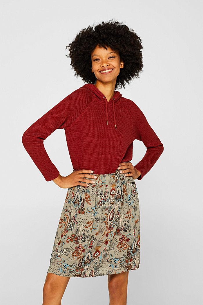 Printed skirt with an elasticated waistband