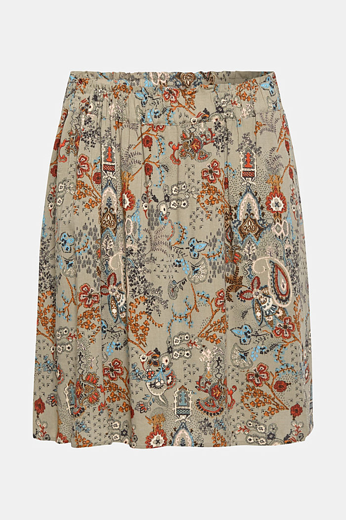 Printed skirt with an elasticated waistband, PALE KHAKI, detail image number 0