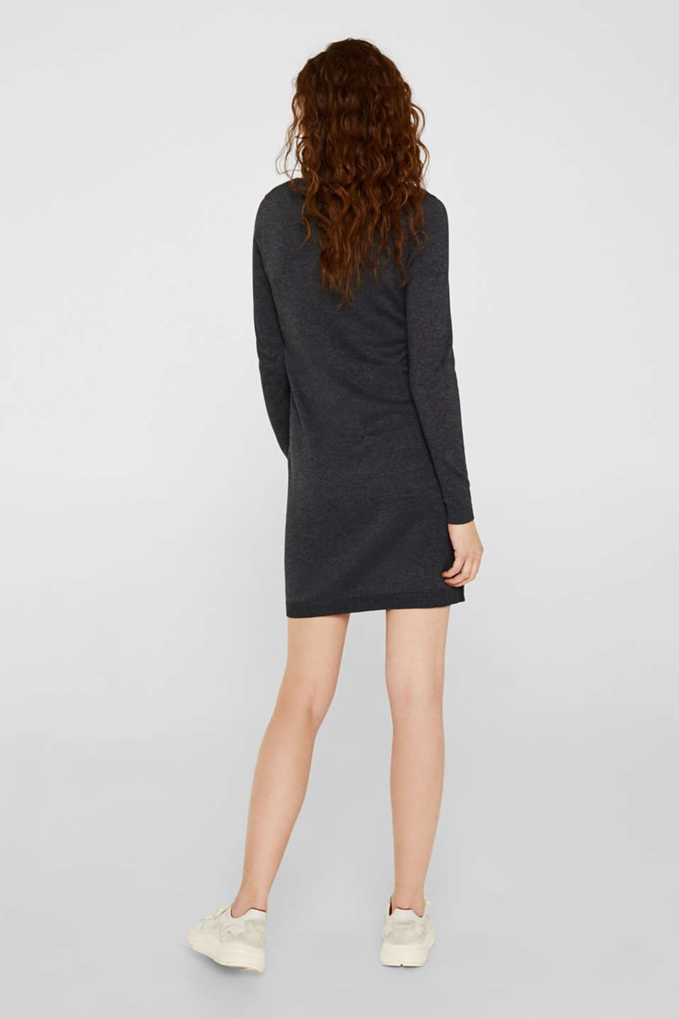 Basic knit dress with rolled edge, DARK GREY 5, detail image number 2