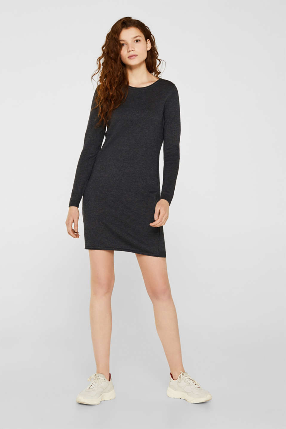 Basic knit dress with rolled edge, DARK GREY 5, detail image number 1