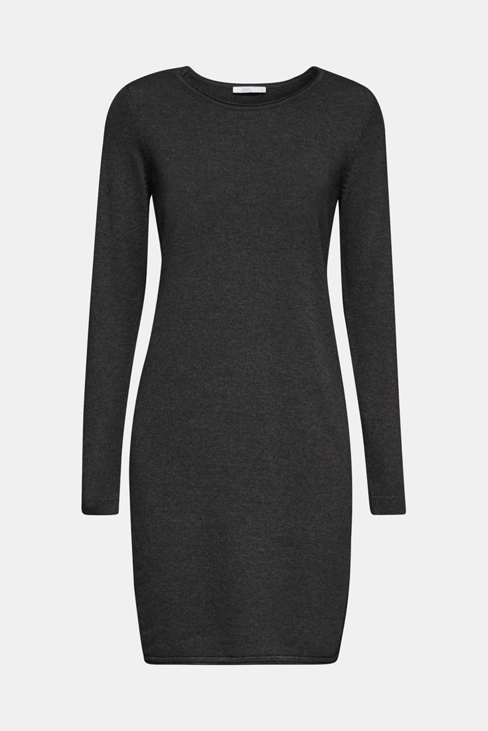Basic knit dress with rolled edge, DARK GREY 5, detail image number 6