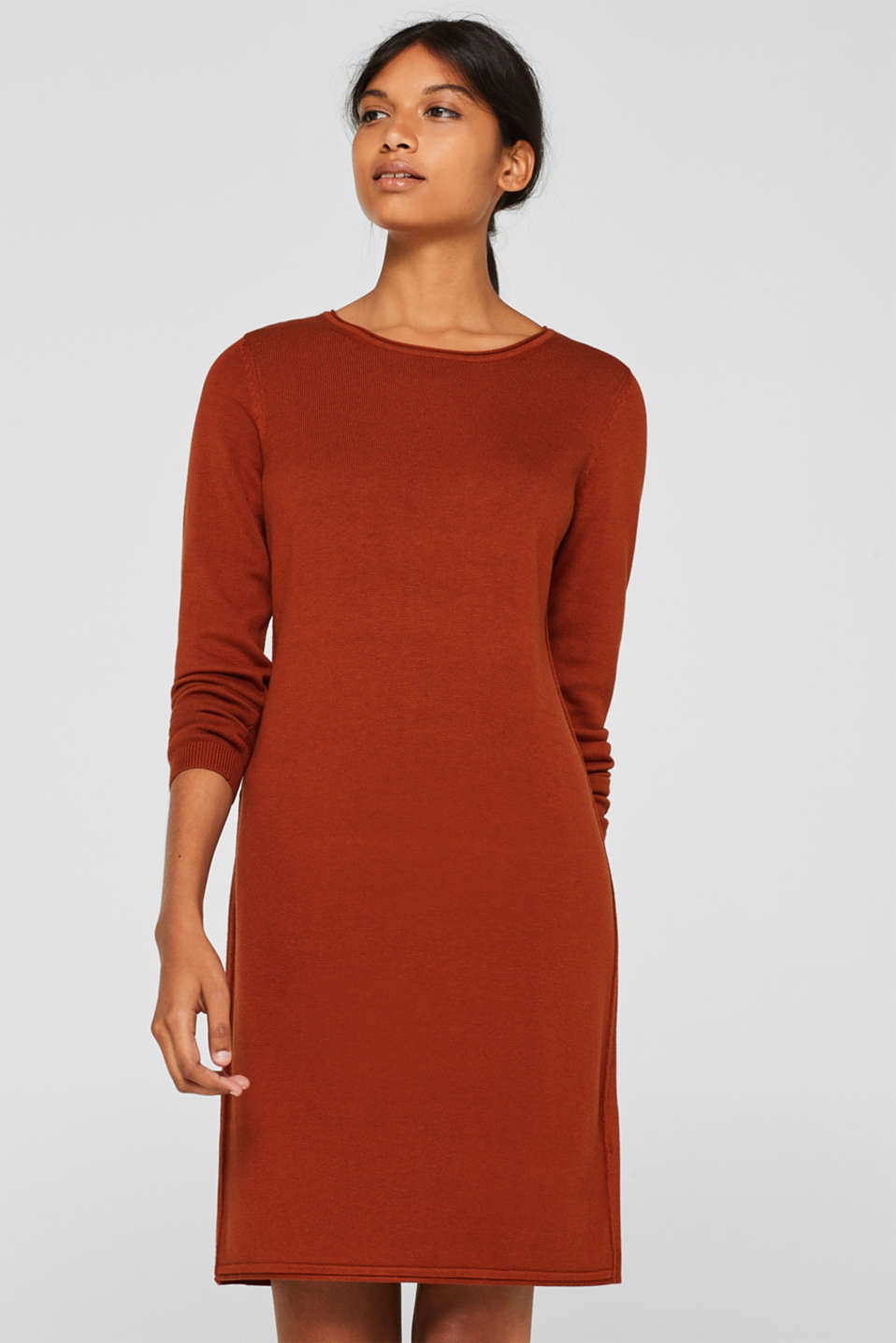 Basic knit dress with rolled edge, RUST BROWN 5, detail image number 0