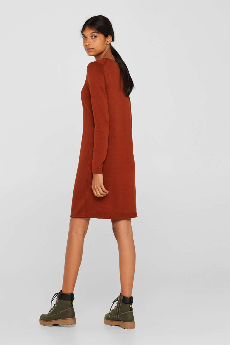 Basic knit dress with rolled edge, RUST BROWN 5, detail image number 2