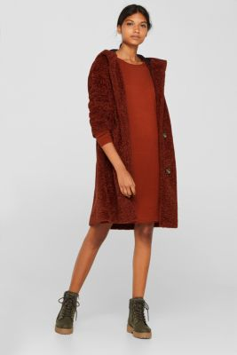Basic knit dress with rolled edge, RUST BROWN 5, detail