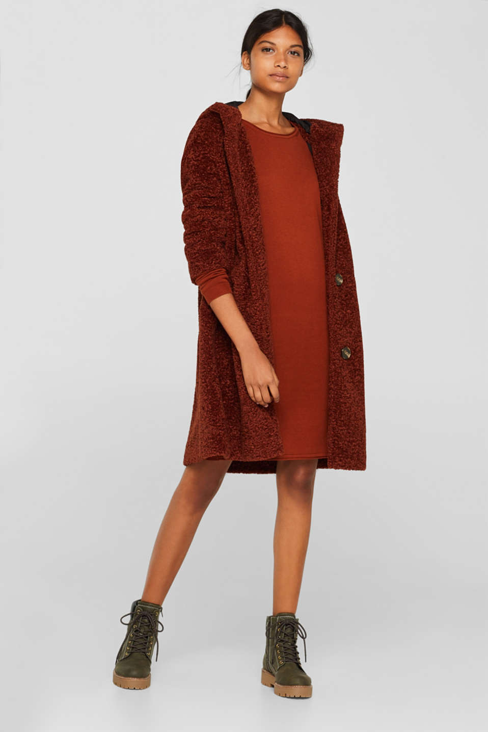 Basic knit dress with rolled edge, RUST BROWN 5, detail image number 1