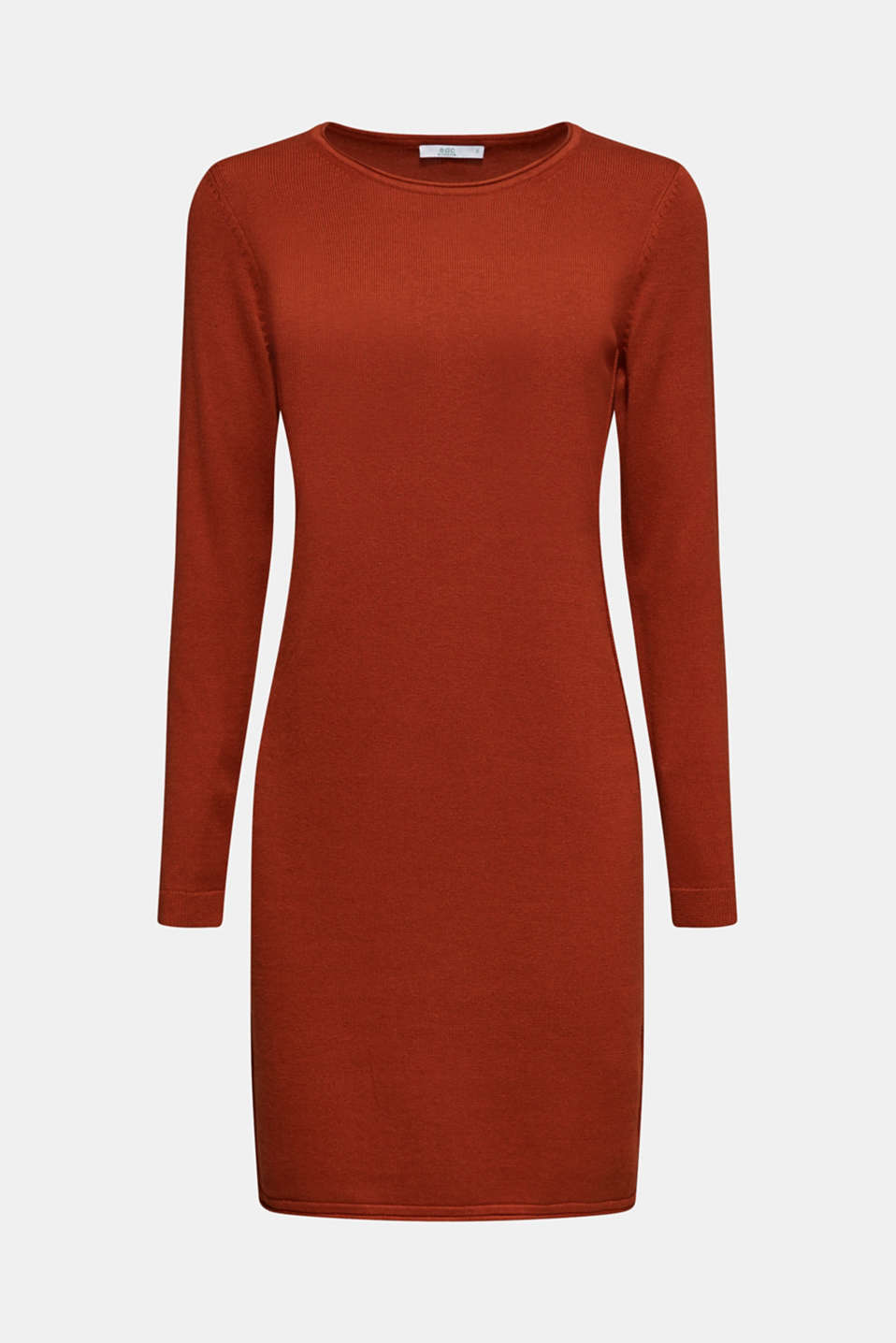 Basic knit dress with rolled edge, RUST BROWN 5, detail image number 7