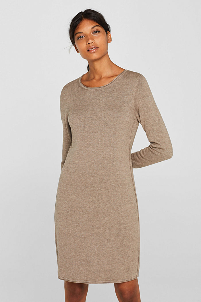 Basic knit dress with rolled edge, TAUPE, detail image number 0