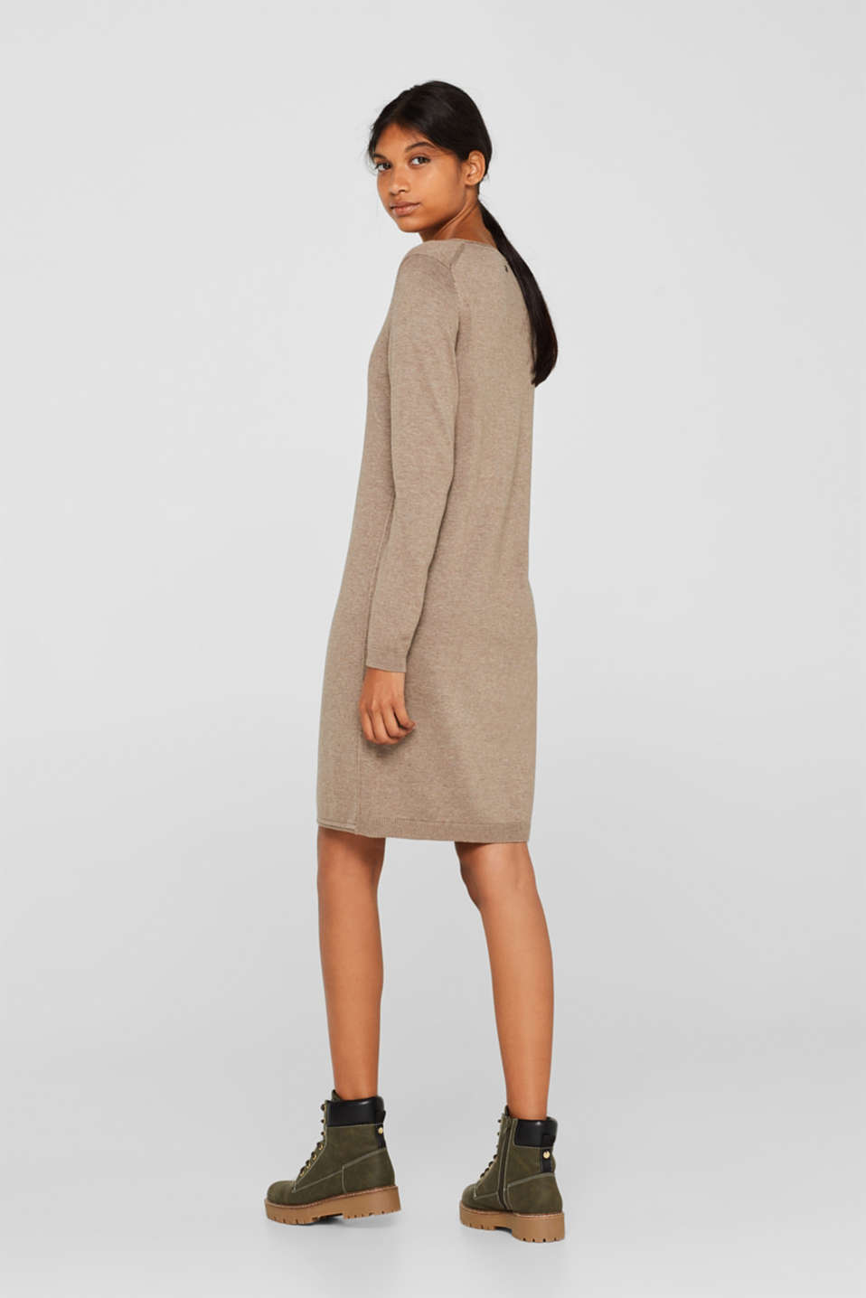Basic knit dress with rolled edge, TAUPE 5, detail image number 2