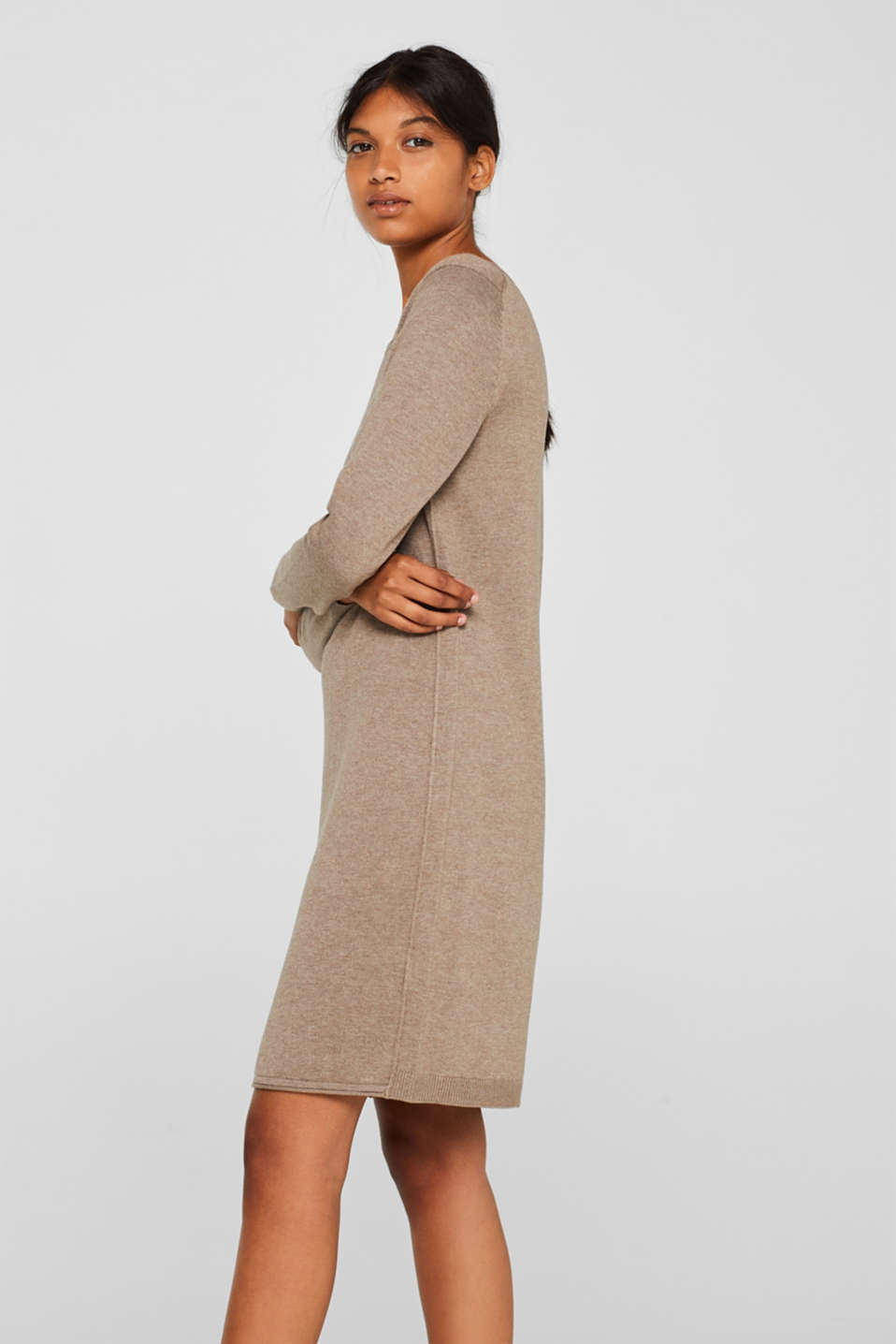 Basic knit dress with rolled edge, TAUPE 5, detail image number 4