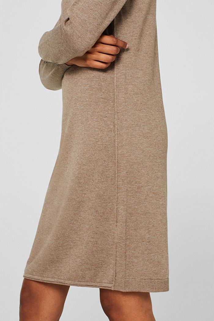 Basic knit dress with rolled edge, TAUPE, detail image number 6