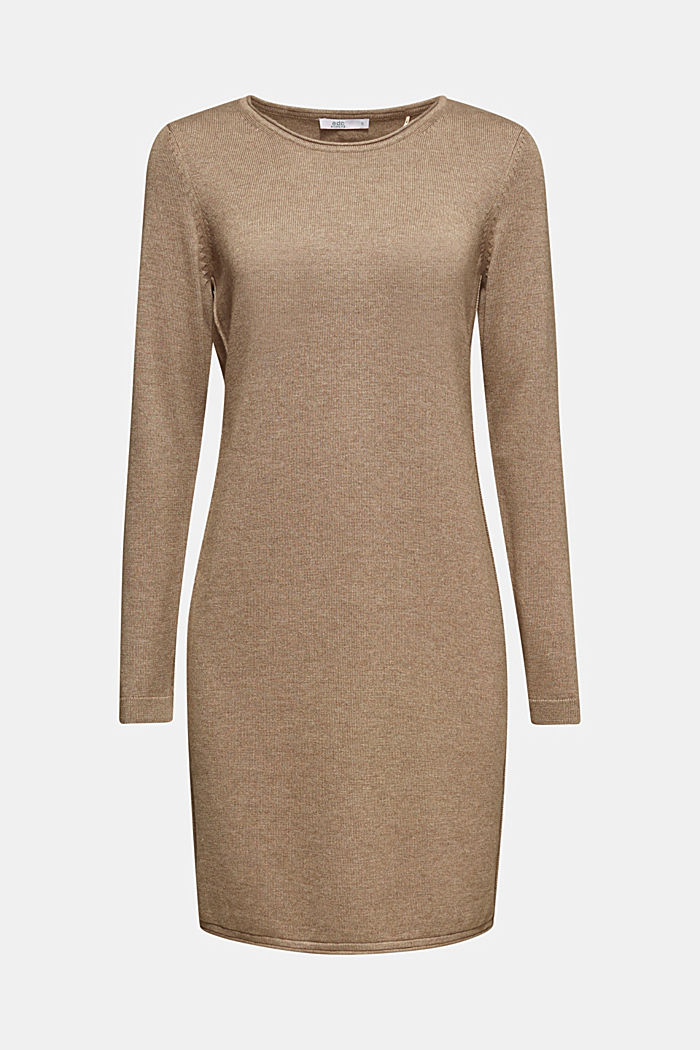 Basic knit dress with rolled edge, TAUPE, detail image number 7