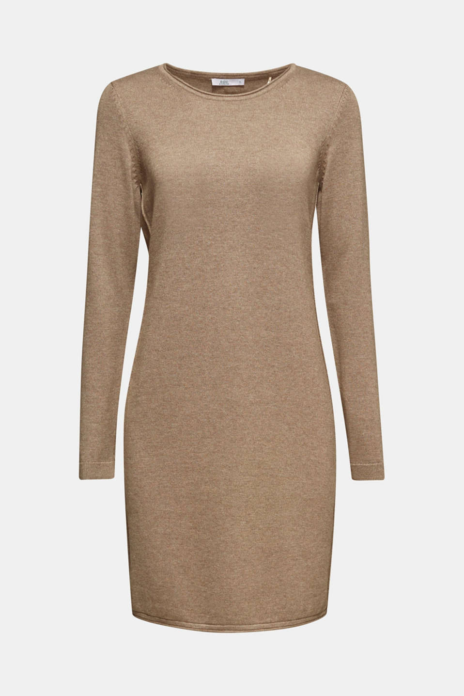 Basic knit dress with rolled edge, TAUPE 5, detail image number 7