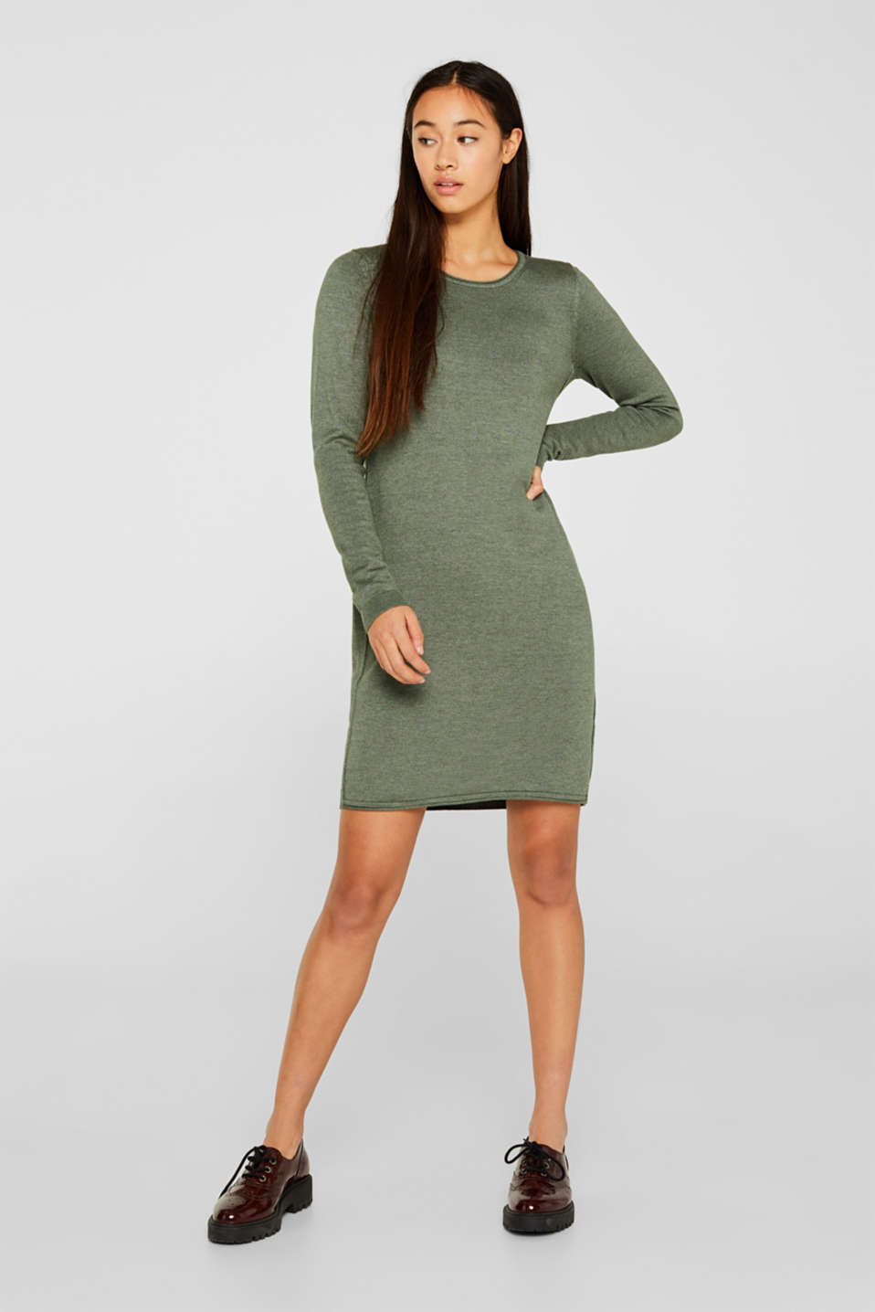 Basic knit dress with rolled edge, KHAKI GREEN 5, detail image number 0
