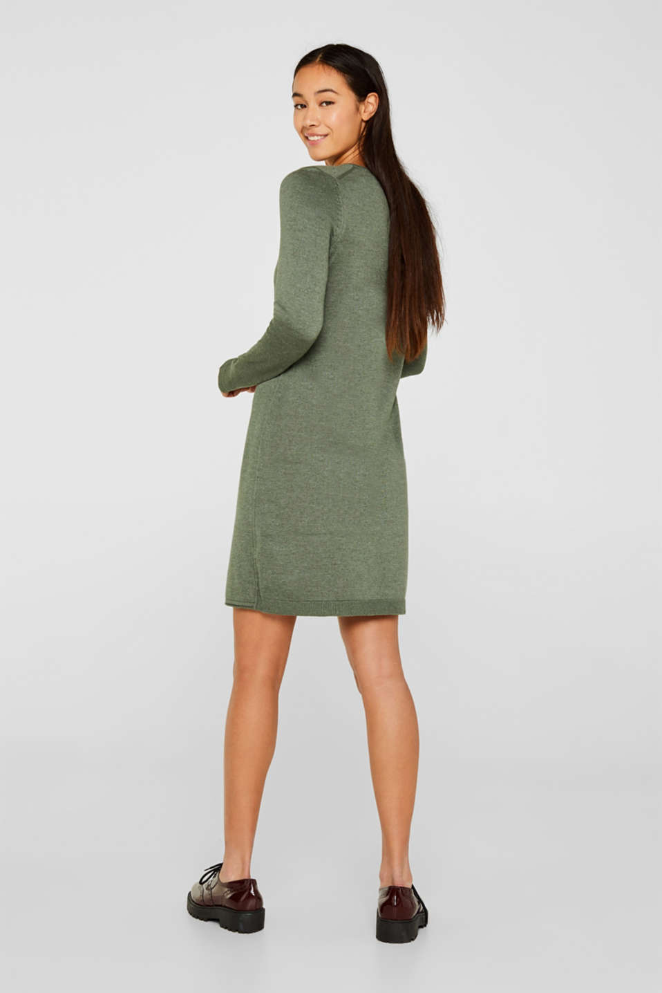 Basic knit dress with rolled edge, KHAKI GREEN 5, detail image number 2