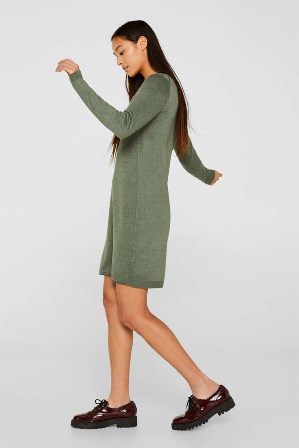 Basic knit dress with rolled edge, KHAKI GREEN 5, detail image number 1