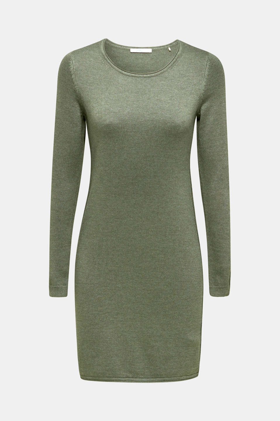 Basic knit dress with rolled edge, KHAKI GREEN 5, detail image number 5