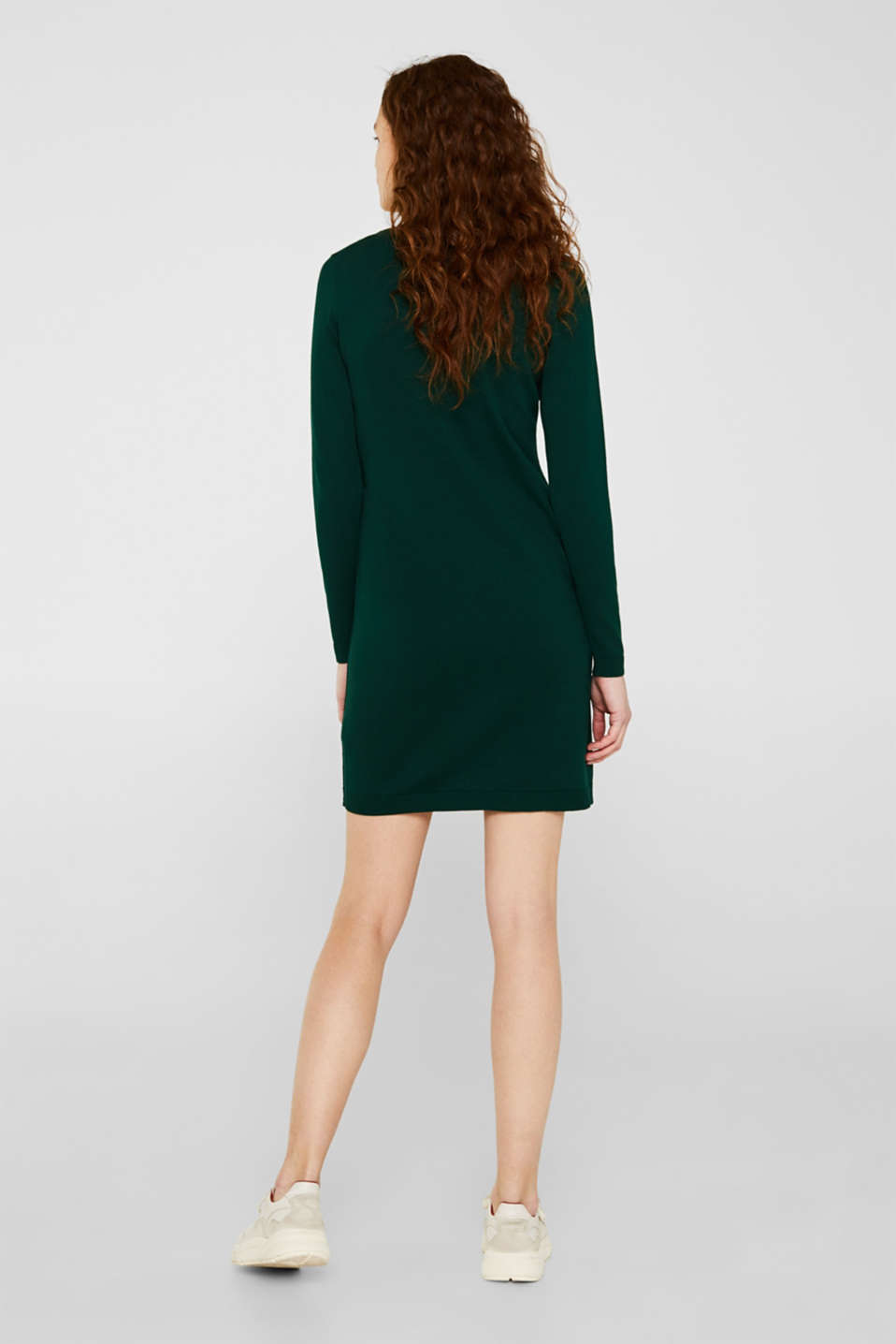 Basic knit dress with rolled edge, BOTTLE GREEN, detail image number 1