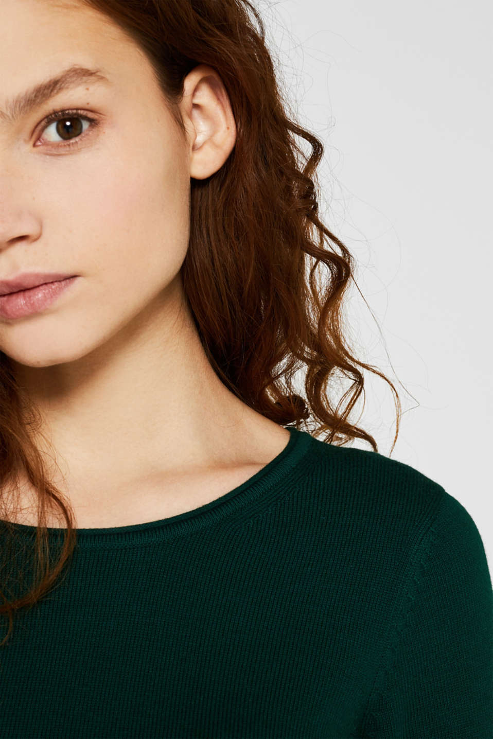 Basic knit dress with rolled edge, BOTTLE GREEN, detail image number 2