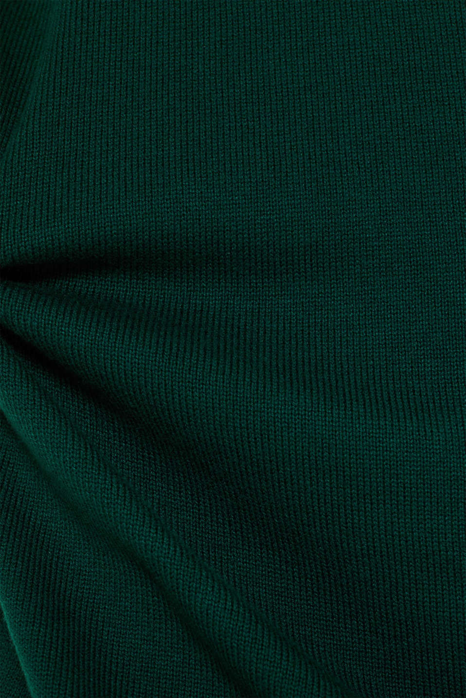 Basic knit dress with rolled edge, BOTTLE GREEN, detail image number 3