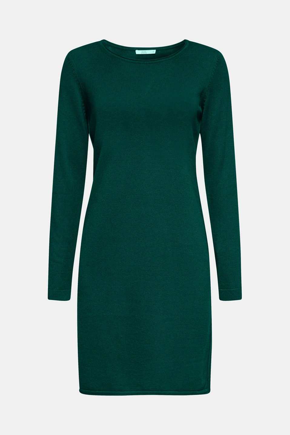 Basic knit dress with rolled edge, BOTTLE GREEN, detail image number 5