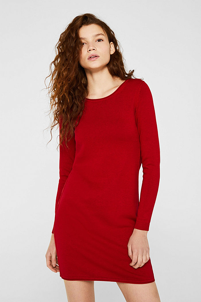 Basic knit dress with rolled edge, DARK RED, detail image number 0