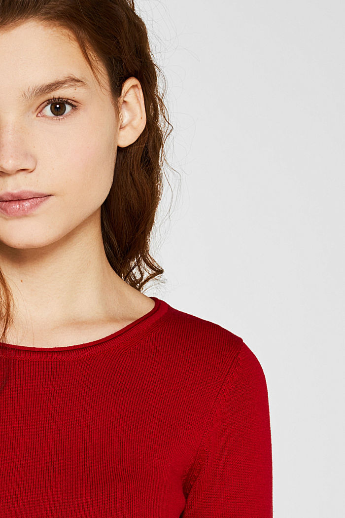 Basic knit dress with rolled edge, DARK RED, detail image number 1